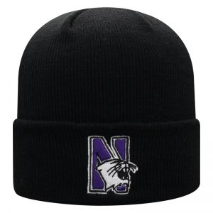 Northwestern University Wildcats Adult Black Cuffed Knit Hat With Embroidered N-Cat Design