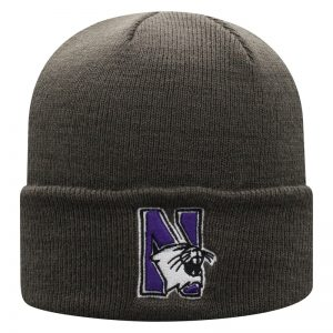 Northwestern University Wildcats Adult Charcoal Cuffed Knit Hat With Embroidered N-Cat Design