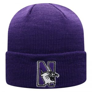 Northwestern University Wildcats Adult Purple Cuffed Knit Hat With Embroidered N-Cat Design