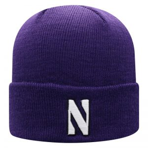 Northwestern University Wildcats Adult Purple Cuffed Knit Hat With Embroidered Stylized N Design