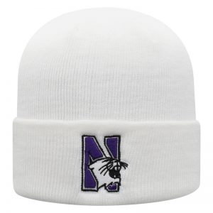 Northwestern University Wildcats Adult White Cuffed Knit Hat With Embroidered N-Cat Design