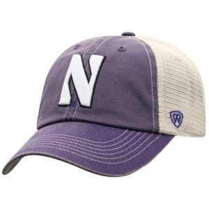 Northwestern University Wildcats Top Of The World Adjustable Snapback Purple/Cream Trucker Mesh Hat with Stylized N Design & Purple Visor-Front