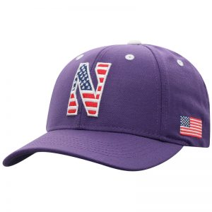 Northwestern University Wildcats Purple Adjustable Velcroback Hat with Stars & Stripes Stylized N Design