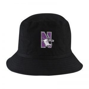 Northwestern University Wildcats Black Floppy/Bucket Hat with N-Cat Design