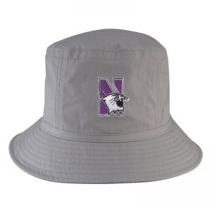 Northwestern University Wildcats Light Grey Floppy/Bucket Hat with N-Cat Design