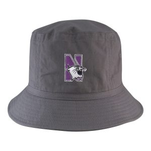 Northwestern University Wildcats Charcoal Grey Floppy/Bucket Hat with N-Cat Design