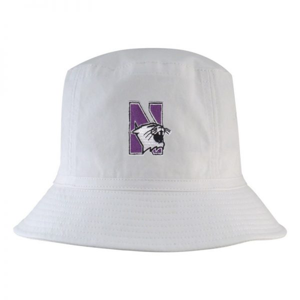 Northwestern University Wildcats White Floppy/Bucket Hat with N-Cat Design