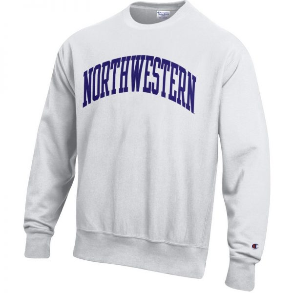 Northwestern University Wildcats Men's White Champion Super Heavy Reverse Weave Crewneck Sweatshirt with Purple Arched Northwestern Wool Sewn Appliqué Design