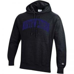 Northwestern University Wildcats Men's Black Champion Super Heavy Reverse Weave Hooded Sweatshirt with Purple Arched Northwestern Wool Sewn Appliqué Design