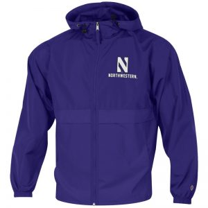Northwestern University Wildcats Champion Men's Purple Full Zip Lightweight Jacket With Hood