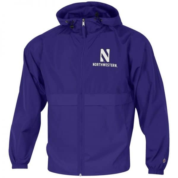 Northwestern University Wildcats Champion Men's Purple Full Zip Lightweight Jacket With Hood