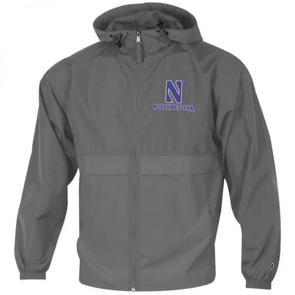 Northwestern University Wildcats Champion Men's Graphite Full Zip Lightweight Jacket With Hood