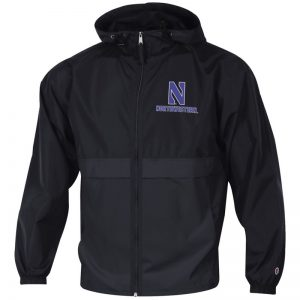 Northwestern University Wildcats Champion Men's Black Full Zip Lightweight Jacket With Hood