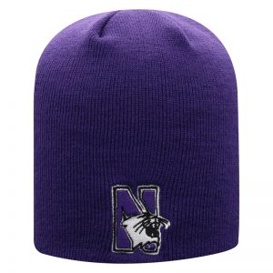Northwestern University Wildcats Adult Purple Uncuffed Knit Hat With Embroidered N-Cat Design