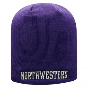 Northwestern University Wildcats Adult Purple Uncuffed Knit Hat With Embroidered Northwestern Design