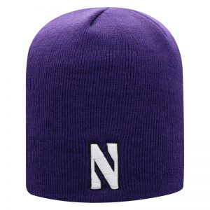 Northwestern University Wildcats Adult Purple Uncuffed Knit Hat With Embroidered Stylized N Design