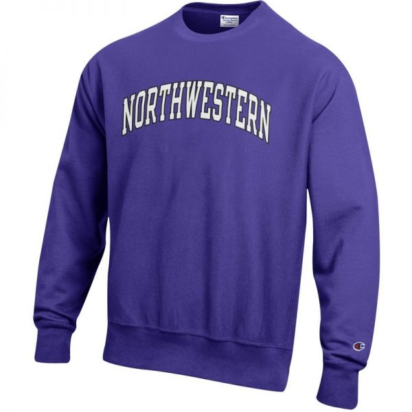 Northwestern University Wildcats Men's Purple Champion Super Heavy Reverse Weave Crewneck Sweatshirt with Two Color Arched Northwestern Printed Design