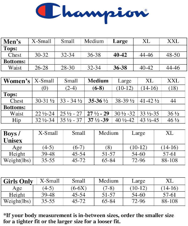 Champion Sizing Chart