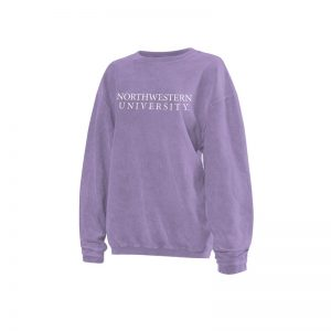 Northwestern University Wildcats Chicka-d Light Lilac Lavender Crewneck Sweatshirt With Distressed Northwestern University Design