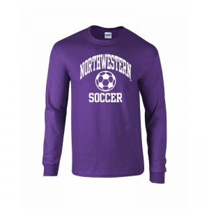 Northwestern University Wildcats Purple Long Sleeve Tee Shirt with Soccer Design