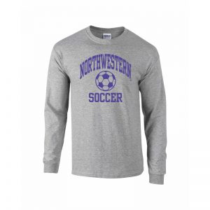 Northwestern University Wildcats Grey Long Sleeve Tee Shirt with Soccer Design