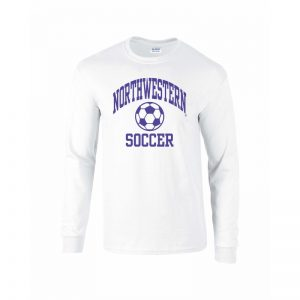 Northwestern University Wildcats White Long Sleeve Tee Shirt with Soccer Design