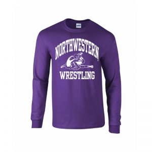Northwestern University Wildcats Purple Long Sleeve Tee Shirt with Wrestling Design