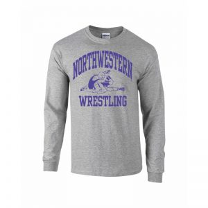 Northwestern University Wildcats Grey Long Sleeve Tee Shirt with Wrestling Design