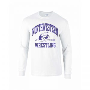 Northwestern University Wildcats White Long Sleeve Tee Shirt with Wrestling Design
