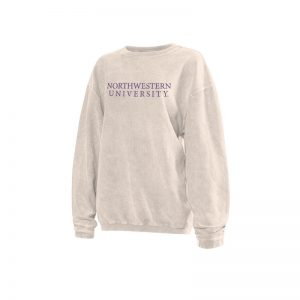 Northwestern University Wildcats Chicka-d Natural Cream Crewneck Sweatshirt With Distressed Northwestern University Design