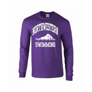 Northwestern University Wildcats Purple Long Sleeve Tee Shirt with Swimming Design