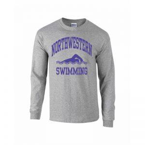Northwestern University Wildcats Grey Long Sleeve Tee Shirt with Swimming Design