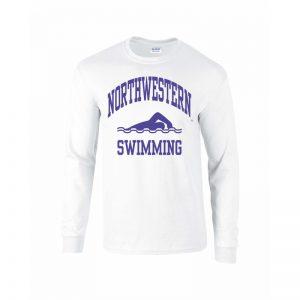 Northwestern University Wildcats White Long Sleeve Tee Shirt with Swimming Design
