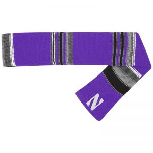 Northwestern University Wildcats Multi Colored Stripped Purple Woven Knit Scarf With Small Embroidered Stylized N Design