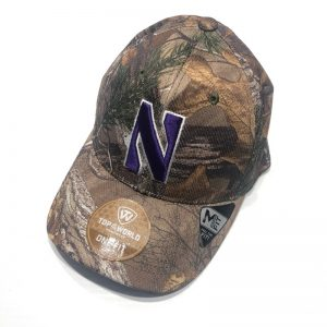 Northwestern University Wildcats Constructed Onefit Woodland Camo Hat with Stylized N Design