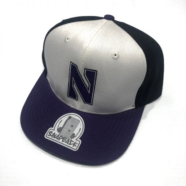Northwestern University Wildcats Constructed Adjustable Tri-Color Flat Brim Snapback Hat with Stylized N Design