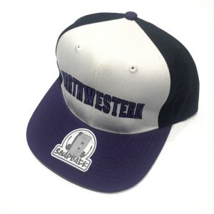Northwestern University Wildcats Constructed Adjustable Tri-Color Flat Brim Snapback Hat with Arched Northwestern Design