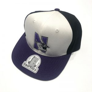 Northwestern University Wildcats Constructed Adjustable Tri-Color Flat Brim Snapback Hat with N-cat Design