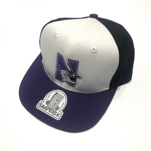 Northwestern University Wildcats Constructed Adjustable Tri-Color Flat Brim Snapback Hat with N-cat Design