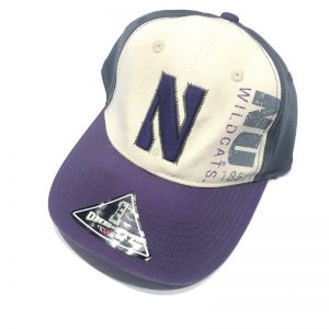 Northwestern University Wildcats Constructed Tricolor Cream/Grey/Purple Onefit Hat with Stylized Embroidered N and Printed NU Design-2