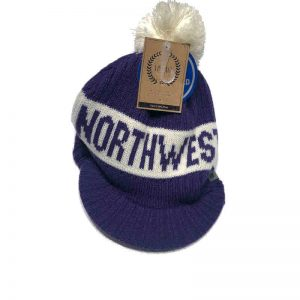 Northwestern University Wildcats Adult Purple Old Fashioned Pom Knit Hat With a Visor