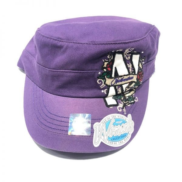 Northwestern University Wildcats Ladies Purple Velcroback Hat with Stylized N and Rose Design-2