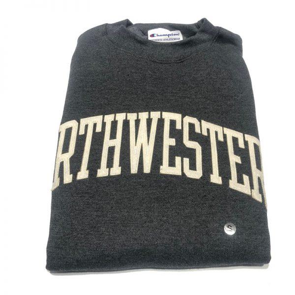 Northwestern University Wildcats Men's Granite Heather Champion Eco Powerblend Crewneck Sweatshirt with Creamy White Arched Northwestern Wool Sewn Appliqué Design -2