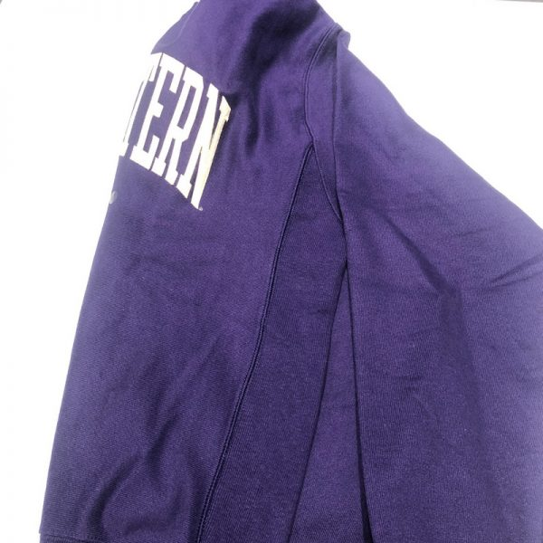 Northwestern University Wildcats Men's Purple Champion Super Heavy Reverse Weave Crewneck Sweatshirt with Creamy White Arched Northwestern Wool Sewn Appliqué Design -4