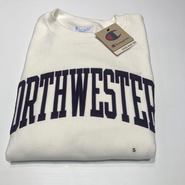 Northwestern University Wildcats Men's White Champion Super Heavy Reverse Weave Crewneck Sweatshirt with Purple Arched Northwestern Wool Sewn Appliqué Design-5