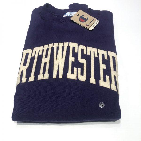 Northwestern University Wildcats Men's Purple Champion Super Heavy Reverse Weave Crewneck Sweatshirt with Creamy White Arched Northwestern Wool Sewn Appliqué Design -2