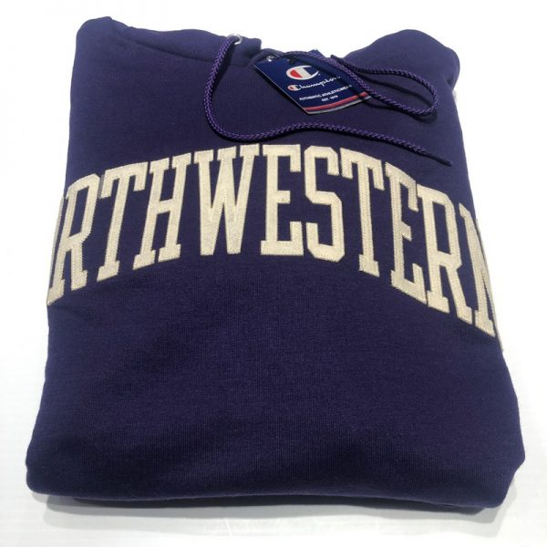 Northwestern University Wildcats Men's Purple Champion Eco Powerblend Hooded Sweatshirt with Creamy White Arched Northwestern Wool Sewn Appliqué Design-2