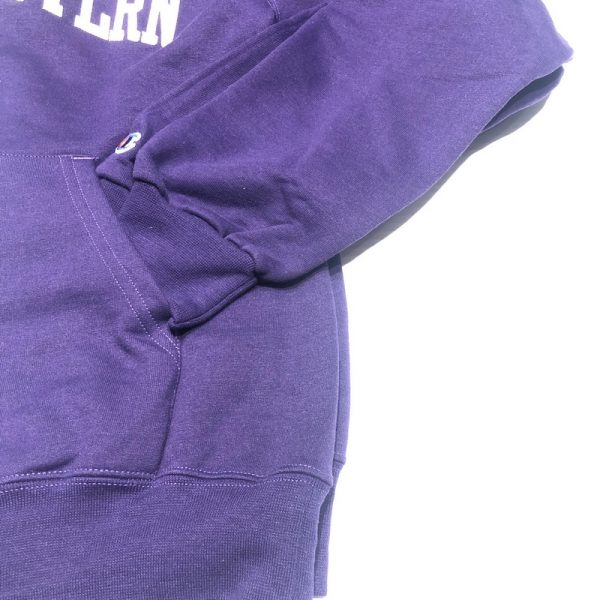 Northwestern University Wildcats Men's Purple Champion Eco Powerblend Hooded Sweatshirt with Creamy White Arched Northwestern Wool Sewn Appliqué Design-3