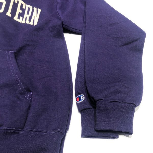 Northwestern University Wildcats Men's Purple Champion Eco Powerblend Hooded Sweatshirt with Creamy White Arched Northwestern Wool Sewn Appliqué Design-4