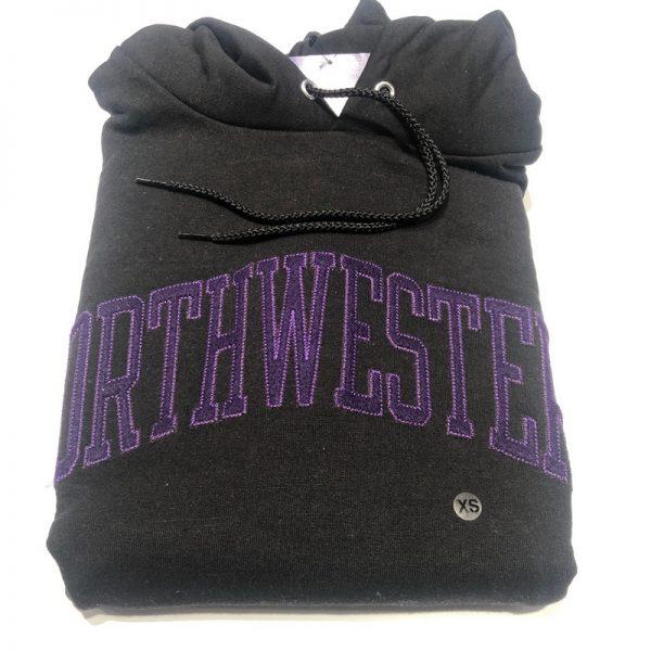 Northwestern University Wildcats Men's Black Champion Eco Powerblend Hooded Sweatshirt with Purple Arched Northwestern Wool Sewn Appliqué Design -2